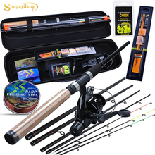 Sougayilang Carp Fishing Rod Combo 6 Sections Feeder Rod and Carp Reel with Line Lure Hook Accessories Carrier Bag Full Kits cheap Rod+Reel+Line Ocean Boat Fishing Ocean Rock Fshing Ocean Beach Fishing LAKE River Reservoir Pond stream 3 Sections 1 0 1 5 1 8mm