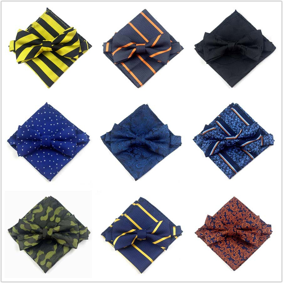 Korean-style MEN'S Bow Tie Pocket Square Set Formal Wear Marriage Groom Bowtie Suit Pocket Square Kerchief Bowtie