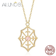 ALLNOEL 925 Sterling Silver Necklace Sapphire Pink Crystal Diamond Necklace Real Gold Engagement Party Fine Jewelry 2020 New