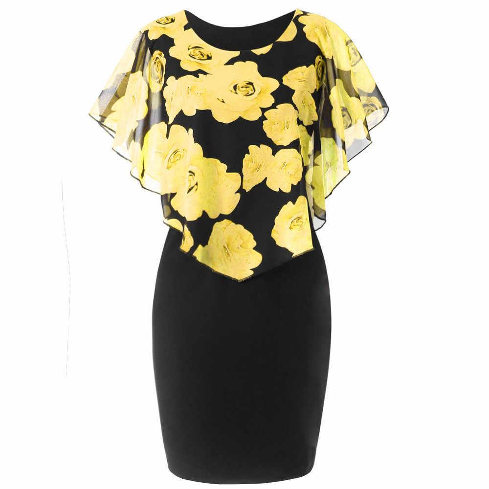 Plus rozmiar kobieta sukienka ołówkowa duży rozmiar damskie Patchwork eleganckie sukienki midi elegancki kwiatowy płaszcz z długim rękawem Vestidos moda OL ubrania