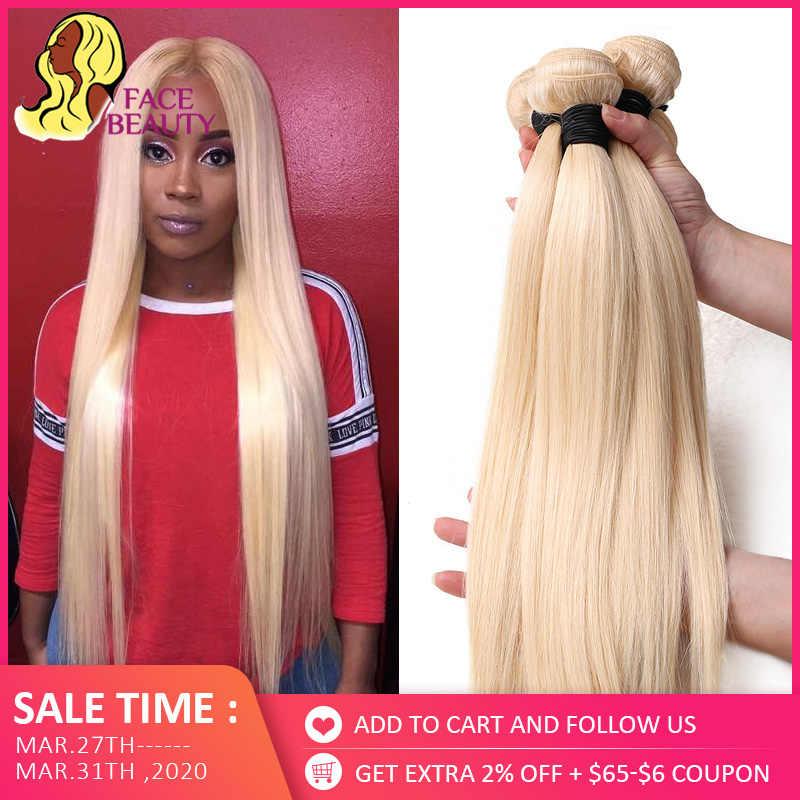 Facebeauty 613 Blonde 1/3/4 Braziliaanse Haar Bundel Straight Weave Remy Menselijk Haar Inslag 26 28 30 32 34 36 38 40 Inch Gratis Verzending