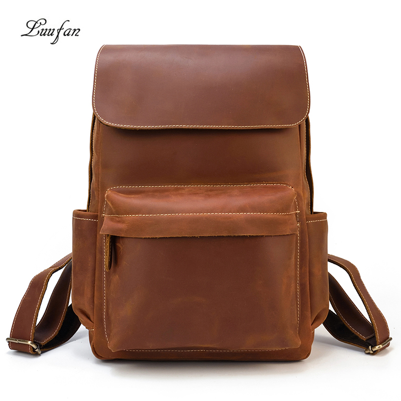 Vintage Crazy horse Leather backpacks men women big Brown cow leather laptop rucksack casual real leather