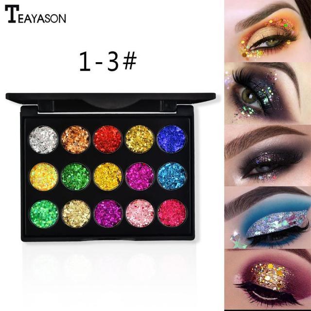 15 Color Diamond Sequins Lasting Eyeshadow Tray Glitter Powder Waterproof Eye Shadow Palette Stage Sequins Eye Makeup TSLM2 5