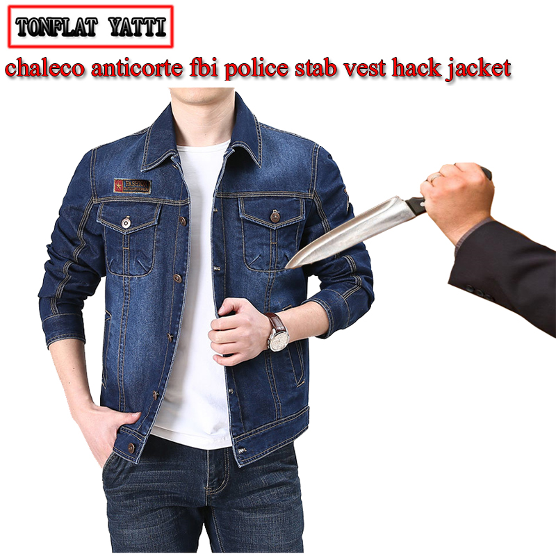 Self-defense Cowboy Stab-resistant Cut-proof Jacket Fashion Casual Invisible Soft Fbi Civil Use Outdoor Party Safety Clothing