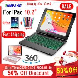 360 Draaibare Backlit Keyboard Case Voor Apple Ipad 10.2 2019 7th Gen Generatie A2197 A2198 Case Cover Funda Met Potlood houder