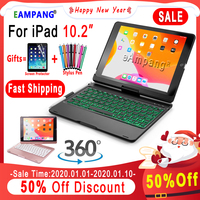 360 Rotatable Backlit Keyboard Case for Apple iPad 10.2 2019 7th Gen Generation A2197 A2198 Case Cover Funda with Pencil Holder