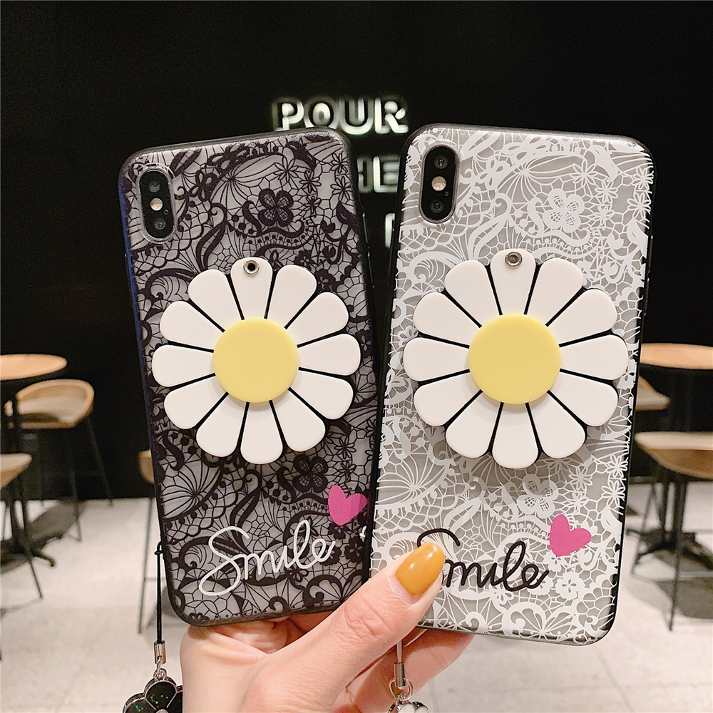 Looking Glass for Huawei P20 Mate 20 Lite P30 P10 10 Pro Case Rotatable Sun Flower Lace Rope Hand Strap Mirror Smile Cover