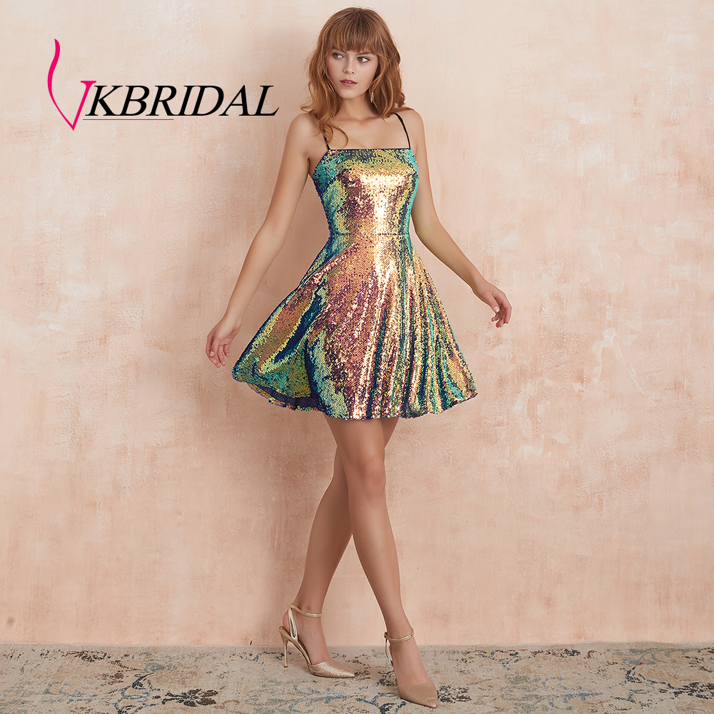 VKbridal Iridescent Sequin Short Prom Gowns Cross Back Evening Formal Wear Multi-Color A Line Homecoming Dresses For Girls 2019
