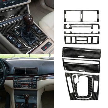 8pcs/Set Car Stickers Carbon Fiber Center Console Sticker Trim For BMW 3 Series E46 98-05 Auto Interior Accessories