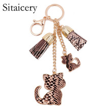 Sitaicery Sexy Cat Keychain Tassel Snake Leather Key Ring Gifts for Women Llavero Chaveros Charms Car Bag Accessories Chain
