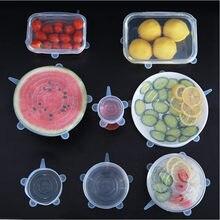 6 unids/set cubierta de silicona tapas de silicona para alimentos de silicona tapas duradera reutilizable cubierta resistente al calor para herramienta de cocina