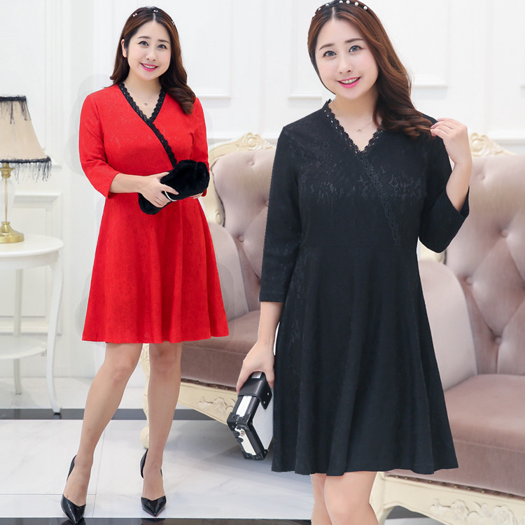 Manufacturers Direct Supply A Generation Of Fat Large GIRL'S Plus-sized WOMEN'S Dress Autumn Clothing New Style Full Body Dress