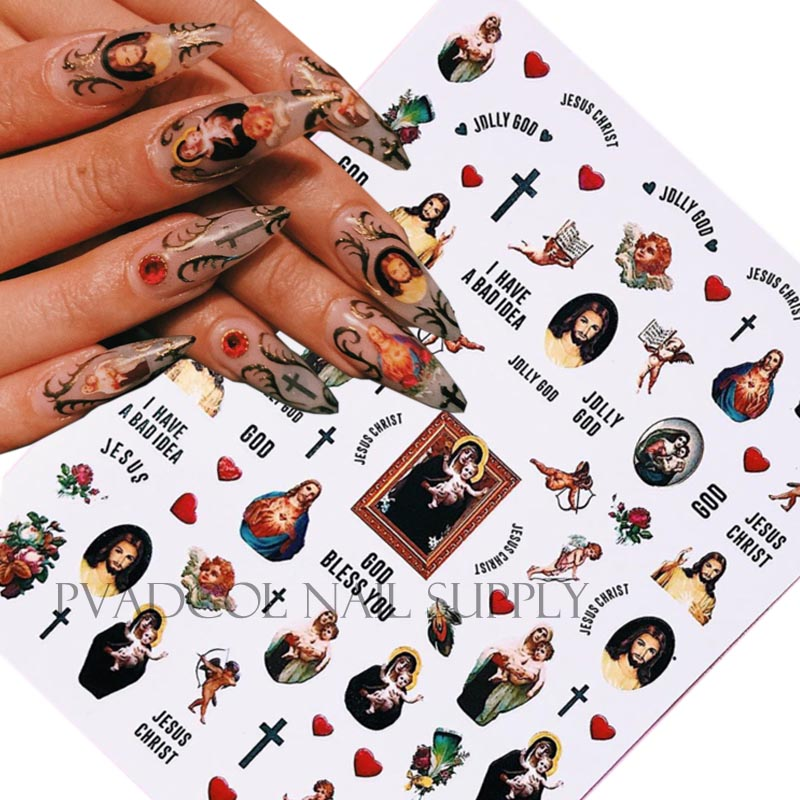 Cherub Nails 3D Nail Art Sticker Jesus Angel Self Adhesive Nail Decal Stickers Salon Tips Manicure Decoration