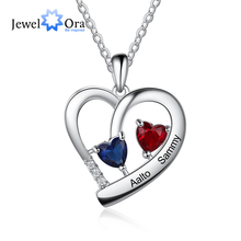JewelOra Personalized Heart Necklace with Custom Birthstone Engraving Name Pendant Valentines Day Promise Gifts for Lovers