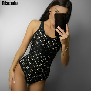 Image 1 - Riseado Swimwear Women 2020 Sexy One Piece Swimsuit Black Racer Back Bathing Suit Hollow Out Swimming Suits for Women Bathers