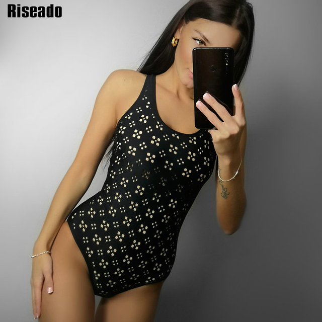 Riseado Swimwear Women 2020 Sexy One Piece Swimsuit Black Racer Back Bathing Suit Hollow Out Swimming Suits for Women Bathers