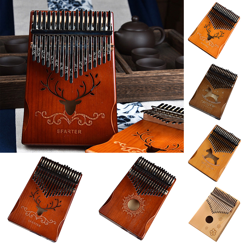 W-17T 17 Keys Kalimba Thumb Piano High-Quality Wood Mahogany Body Musical Instrument With Learning Book Tune Hammer For Beginner