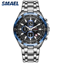 Smael Horloges Mannen 2020 Top Merk Luxe Quartz Horloges Grote Wijzerplaat Waterdicht Chronograaf Sport Polshorloge Relogio Masculino 9063