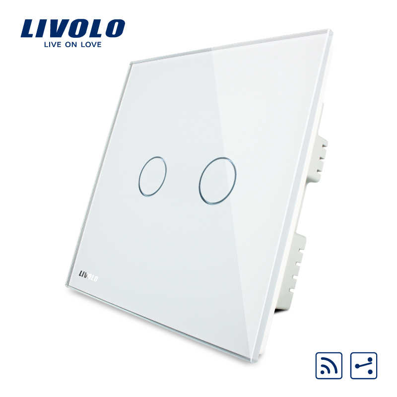 Norme britannique Livolo 1way 2 voies interrupteur tactile de lumière murale, interupter AC 220-250 V, panneau en verre blanc, commutateurs sans fil à distance, croix