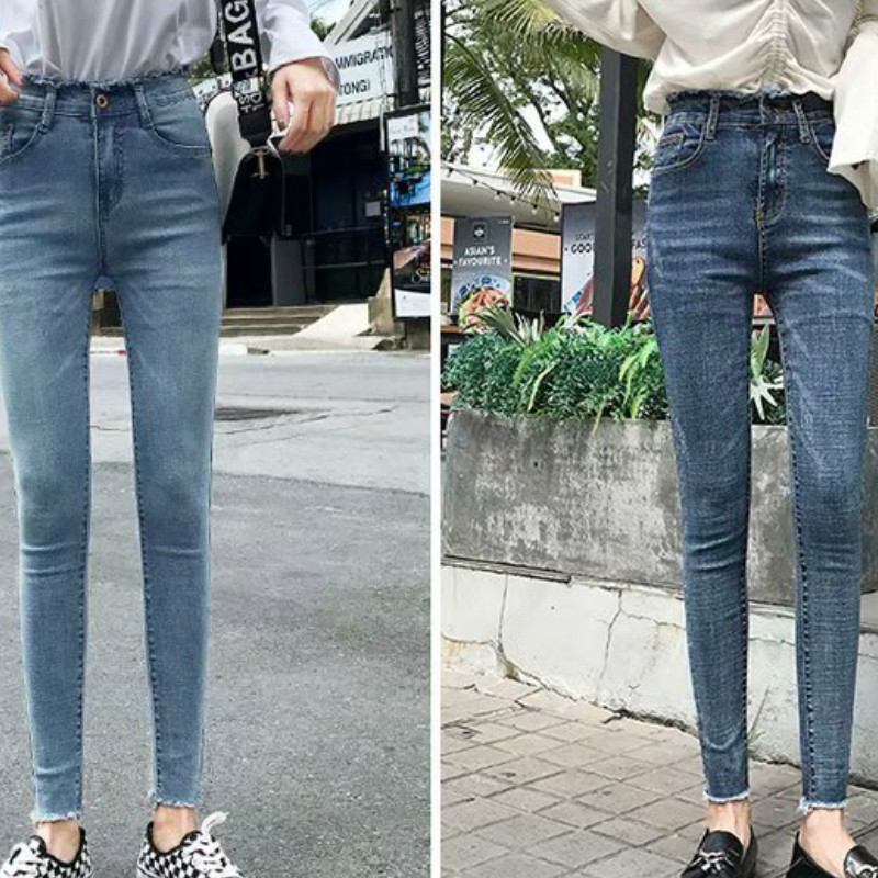 Women Large Size Stretch High Waist Ripped Jeans Casual Autumn Women's Streetwear Ankle Length Pencil Pants