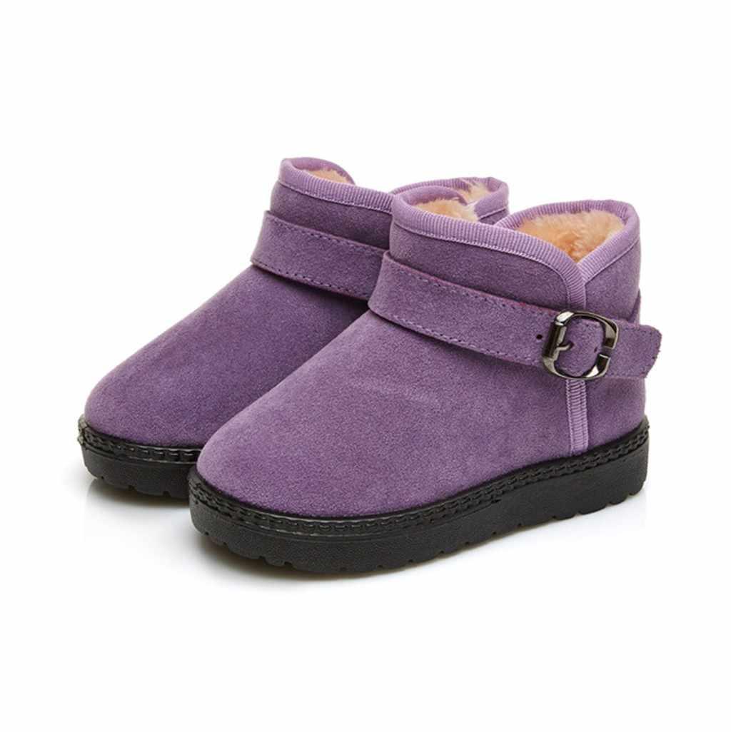 2019 חדש סגנון חורף ילדי ילדי תינוק בנות צבעים בוהקים מוצק חם קצר מגפי שלג הנעל נעלי בוטה infantil ילדים נעלי