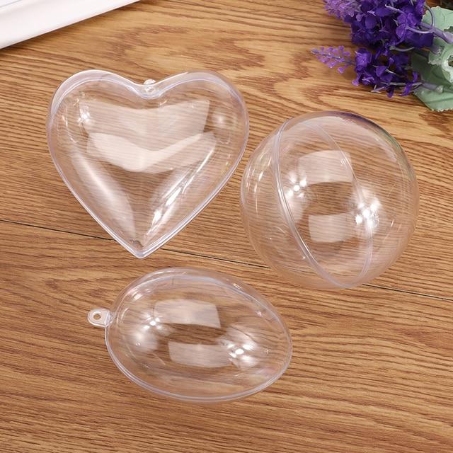 5Pcs/Set Clear Plastic Bath Bomb Mold Mould Round Heart Egg Shape Ball Sphere Bath Bomb Accessories Fillable Ball DIY Bath Tool 3