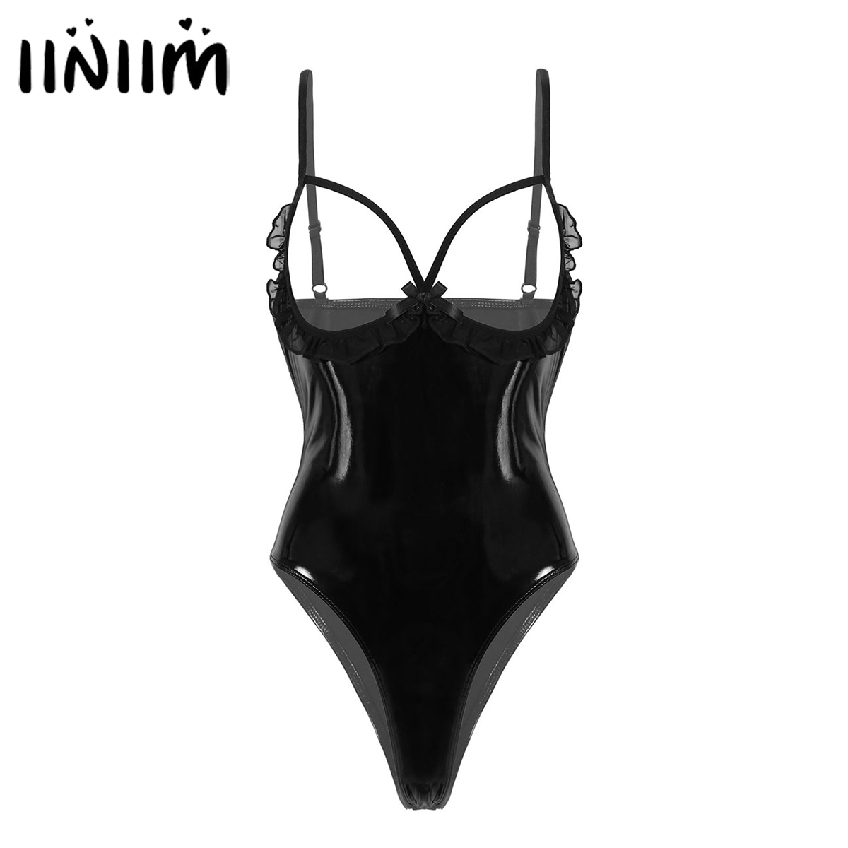 Womens Wetlook Latex Costumes Clubwear Leather Exotic Lingerie Babydoll Bodycon Open Cup Bras High Cut Thong Teddy Sexy Bodysuit