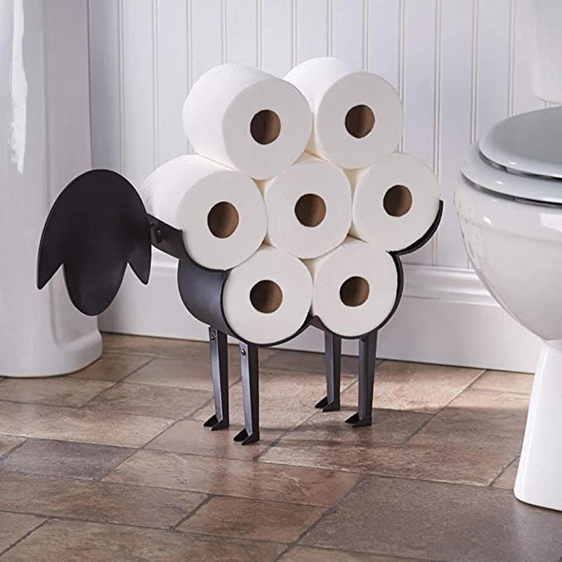Sheep Bathroom Decoration Roll Paper Holder Wall Mounted Toilet Paper Storage Rack Animal Bedroom Tissue Towel Organizer Stand