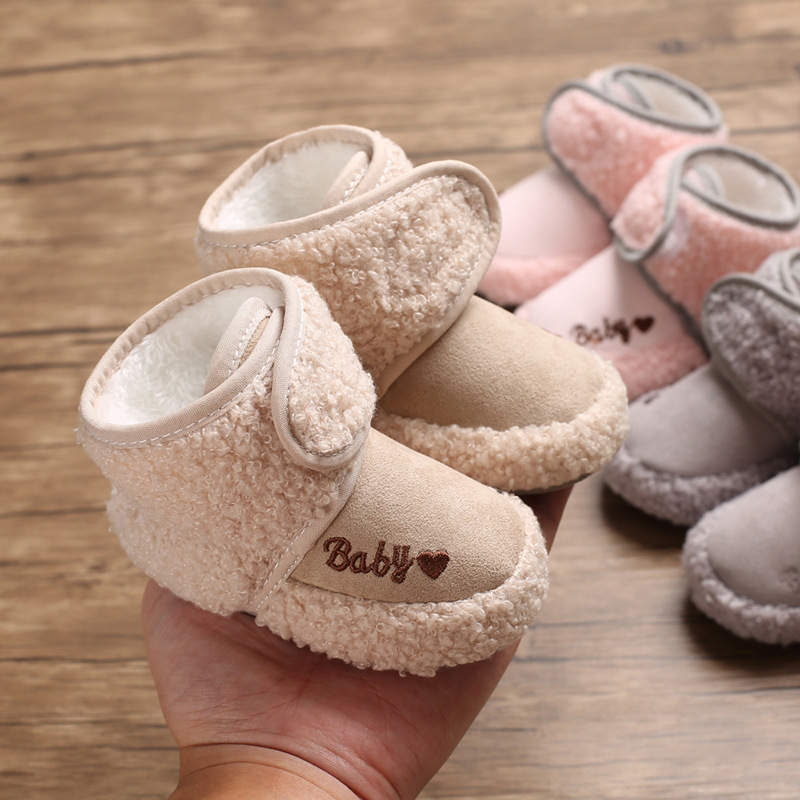 Infant Baby Boy Girl Shoes Winter Hight Heel Fluff Fur Warm Shoes Cotton Sole Soft Newborns Toddler First Walkers Crib Shoes