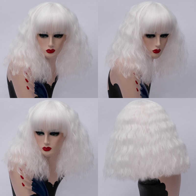 Msiwigs Vrouwen Korte Zwarte Cosplay Pruiken Met Bang Krullend Synthetisch Haar Pruik Wit Rood Blonde Roze Nep Haar