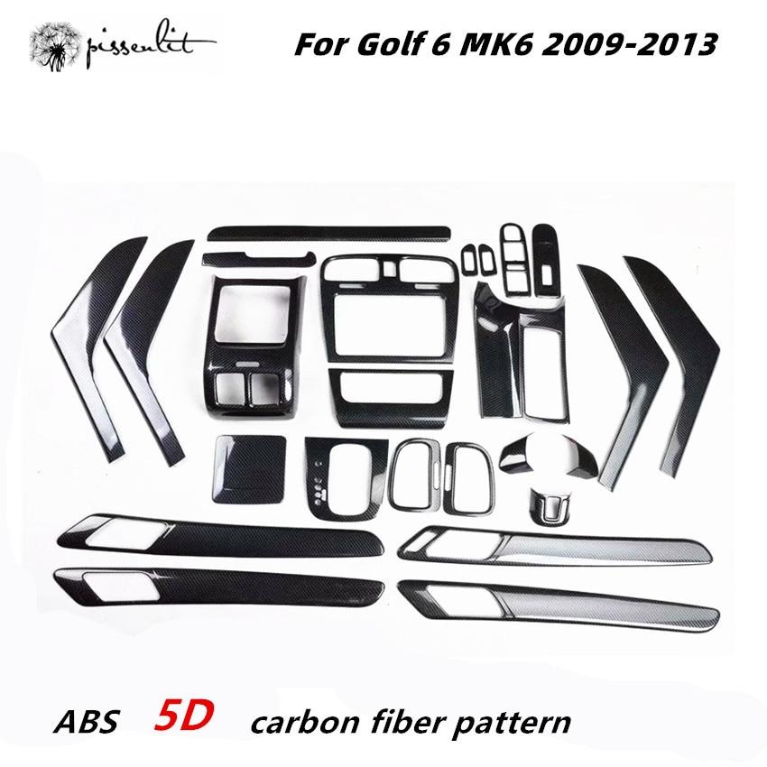 Внутренняя отделка 5D для Golf 6 MK6 2009-2013, автомобильные аксессуары, центральная консоль из углеродного волокна для Golf Mk6 5D, автомобильные наклей...