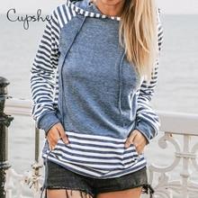 CUPSHE נחסמו פסים הסווטשרט אישה מזדמן ארוך שרוול חולצות סוודרי חולצות 2019 אביב סתיו נקבה Sportswears
