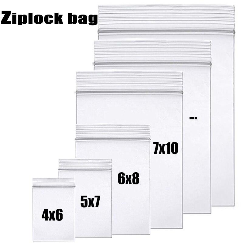 Haut de gamme clair épais Ziplock fermeture éclair fermeture éclair sac alimentaire paquet sacs de rangement de qualité supérieure Transparent refermable en plastique poly sac à fermeture éclair