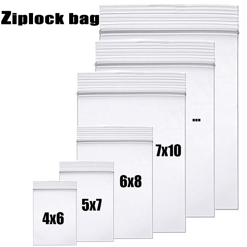 High-end Clear Thick Ziplock Zip Zipped Lock bag Food Package Storage Bags Top Grade Transparent Reclosable plastic poly zip Bag