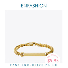 Enfashion Personalized Custom Engrave Name Bracelet Stainless steel Flat Bar Cuff Bracelet Gold Color Charm Bracelets For Women