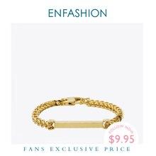 Enfashion spersonalizowana z niestandardowym grawerowaniem bransoletka z imieniem stal nierdzewna płaski stalowy pręt bransoletka mankietowa charms w kolorze złota bransoletki dla kobiet
