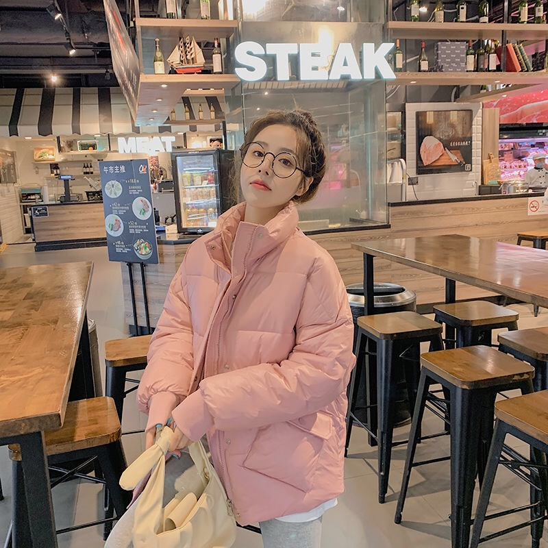 Official map Korean version of bread jacket down cotton jacket women short 2020 new student thickened large size loose stand col|Parkas| - AliExpress
