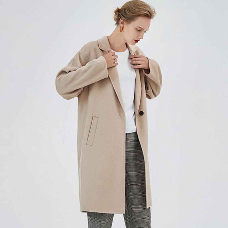 Image 5 - Comfortable Long Autumn Winter Coat Women Wool Blends Coat Fashion Slim Brown/Beige Color Cashmere Girls Woolen Fabric CoatsWool & Blends   -