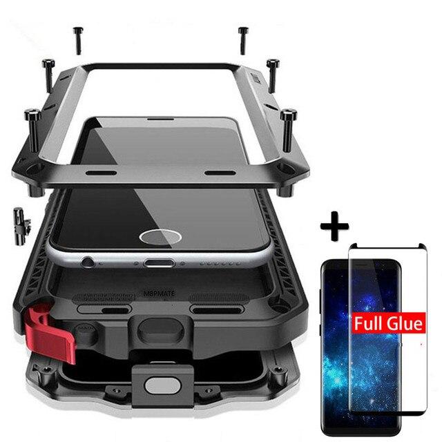 כבד החובה הגנת מקרה עבור סמסונג S9 S10 S20 S8 בתוספת S10e שריון מתכת אלומיניום סמסונג S7 S20 Ultra Note8 עמיד הלם כיסוי