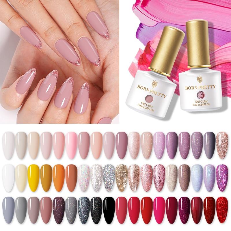 Гель-лак для ногтей BORN PRETTY, 1 бутылка, 7 мл, 2021, новая серия Трендовых цветов, цветной Блестящий розовый фиолетовый отмачиваемый УФ-Гель-лак