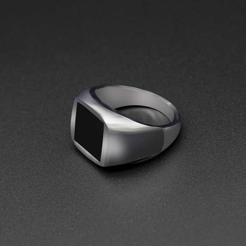 2019 Fashion Rings Square Big Width Signet Rings  Silver Black Men Finger Ring Jewelry Dropshipping