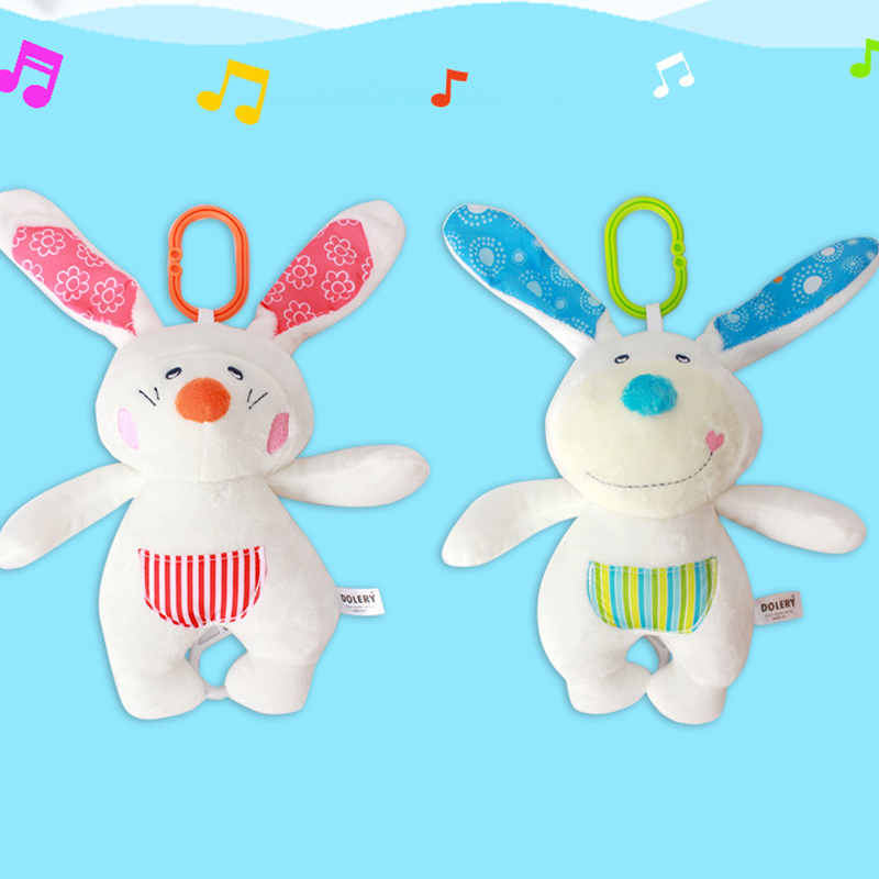 Baby Bell Holder Rabbit Music Pull Bell Baby Comfort Doll Bed Hanging Doll Toy Educational Infant Rattles Soft Plush Animal Toy