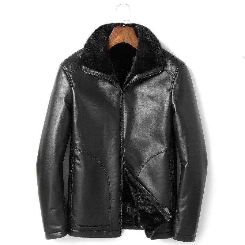 Winter Real Sheepskin Coat Genuine Leather Jacket Men Mink Fur Liner Mens Leather Jacket Warm Down Coat P18181501 YY480