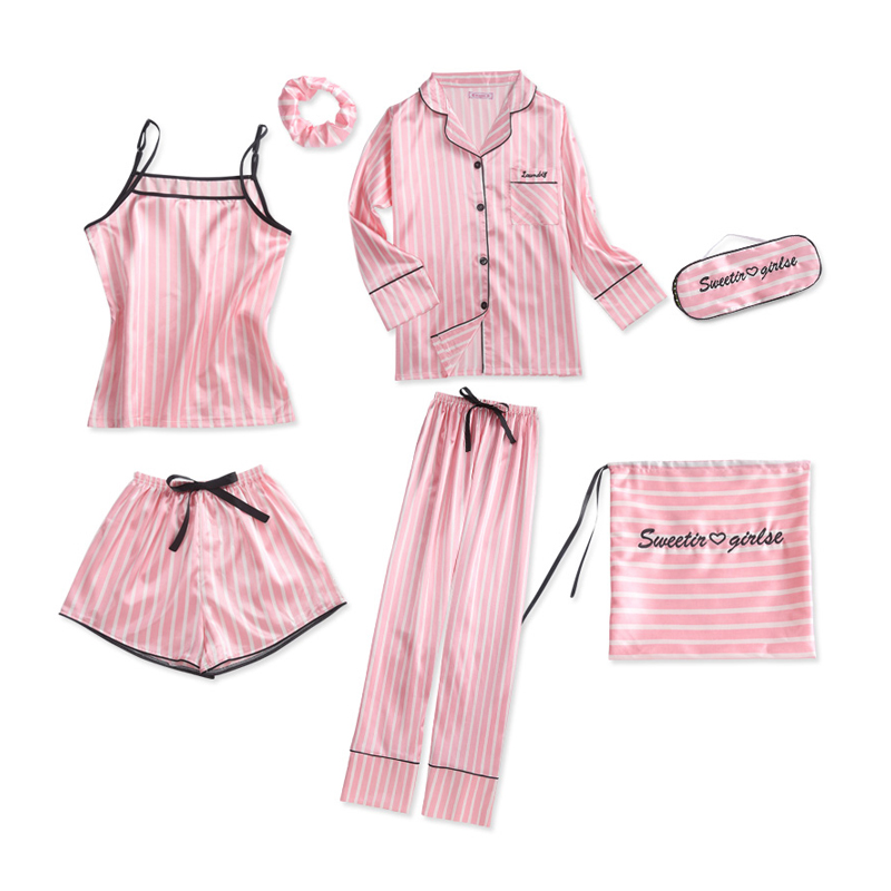 7 Pieces Sleepwear   Pajamas   for Women Sexy Lingerie   Pajama     Set   Women Satin Silk   Pajamas   Spring Summer Autumn Soft Sleepwear