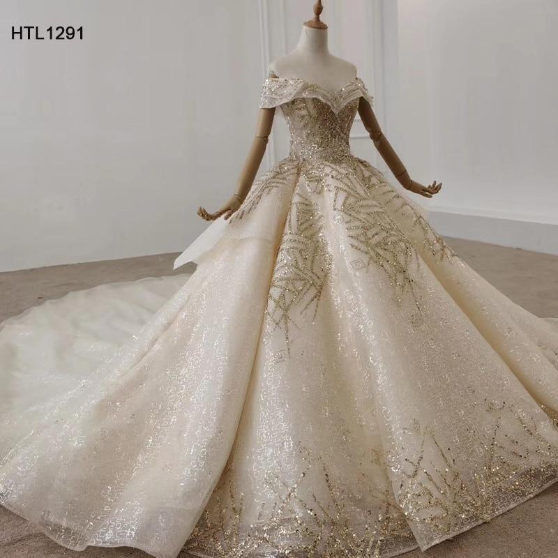 Image 3 - HTL1291 вечернее платье с открытыми плечами 2020 с аппликацией из Золотых Блесток женское вечернее платье большого размера со складками на шнуровке сзади Vestidos ElegantesВечерние платья    АлиЭкспресс