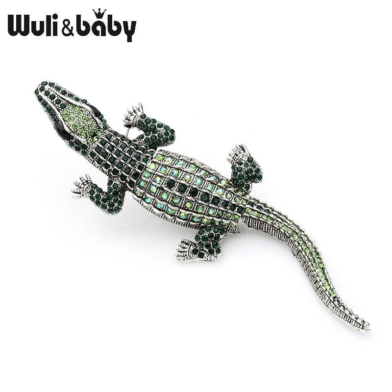 Wuli&baby Green Blue Rhinestone Crocodile Brooches Women Men Big Alloy Animal Banquet Brooch Pins Gifts