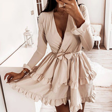 CVYATAYA New Arrived Flared Sleeves Ruffles V Neck Sexy Dress Women Spring Autumn Long Sleeve A-Line Solid Sashes Mini Dresses
