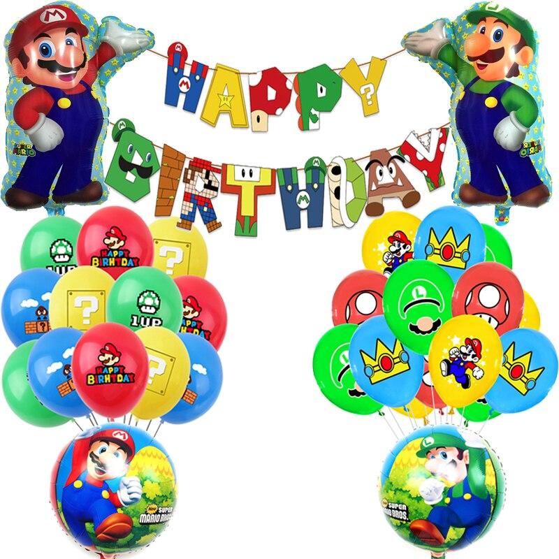 Супер красный зеленый шляпа Luigied Bros Marioed игра Латекс Фольга воздушные шары для мальчиков баннер Happy День рождения украшения для детских игру...