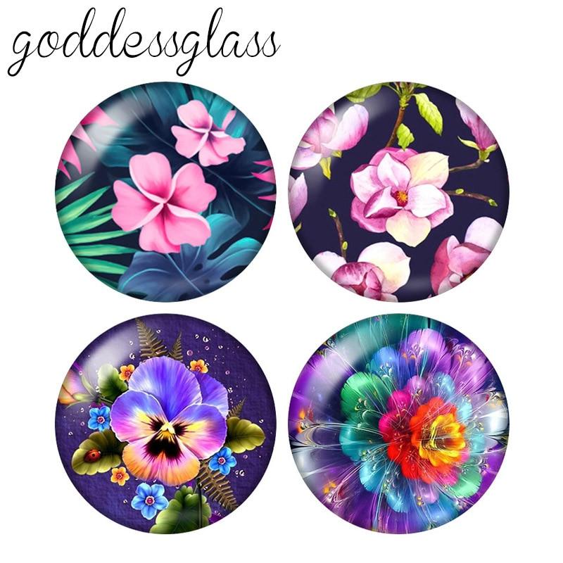 Padrões de flores de beleza Moda 10pcs mixed 12mm/18mm/20mm/25mm/30 milímetros Rodada cabochão de vidro foto demonstração de volta plana Fazendo descobertas