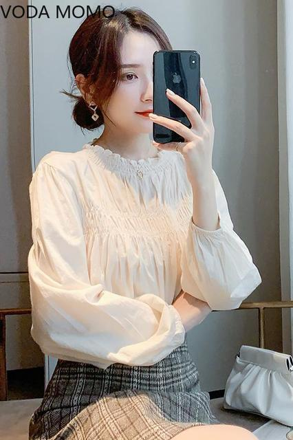 Lantern Sleeve Elegant Shirt White Sexy  Vintage Blouse O Collar Office Ladies blouse for women blusas womens tops and blouses 3